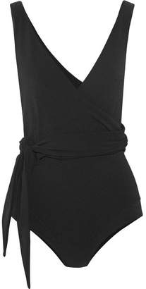 Dree Louise Crepe Wrap Swimsuit - Black