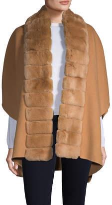 Yves Salomon Rabbit Fur Collar Wool-Cashmere Coat