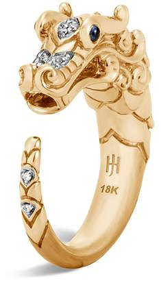 John Hardy 18K Yellow Gold Legends Naga Ring with Diamond and Sapphire