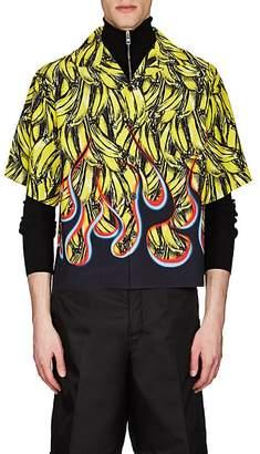 Prada Men's Flame- & Banana-Print Bowling Shirt