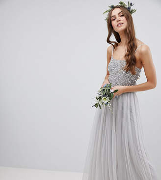Maya Tall Cami Strap Sequin Top Tulle Detail Maxi Bridesmaid Dress