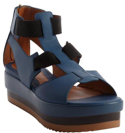 Fendi blue and black strappy open toe rear zip sandals