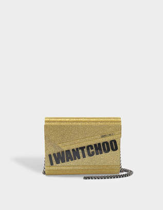 Jimmy Choo I Want Choo Candy Clutch Bag in Gold Glitter Acrylic