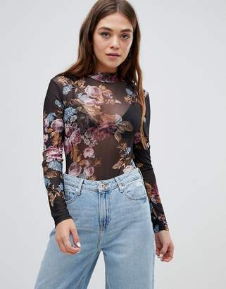 Brave Soul pansy floral mesh bodysuit