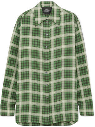 Marc Jacobs Oversized Checked Silk-chiffon Shirt - Green