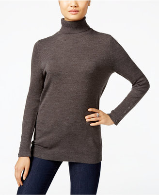 JM Collection Button-Cuff Turtleneck Sweater, Only at Macy's $49.50 thestylecure.com