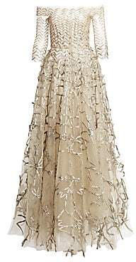 Oscar de la Renta Women's Off-The-Shoulder Metallic Embroidery Mesh Ball Gown