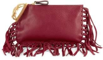 Valentino Garavani Fringe-Trimmed Leather Clutch
