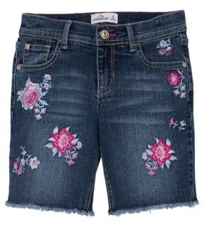 Jordache Embroidered Floral Denim Bermuda Short (Little Girls & Big Girls)