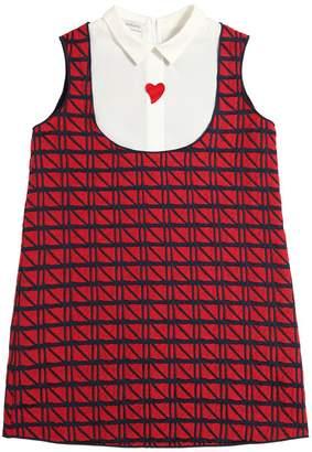 Textured Cotton & Poplin Dress W/ Heart