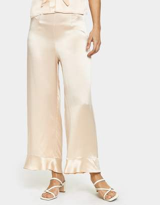 Yune Ho Gemma Ruffle Silk Pant in Sheer Pink