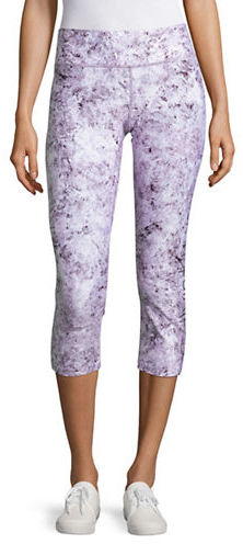 Calvin Klein Performance Abstract Printed Shimmer Cropped Leggings
