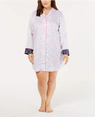 Charter Club Plus Size Contrast-Trimmed Printed Sleepshirt