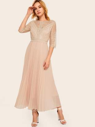 Shein Contrast Lace Pleated Dress