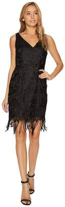 Adrianna Papell Guipure Lace Cocktail Dress with Fringe Hem Line Women's Dress