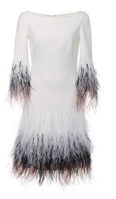 Pamella Roland Stretch Crepe Cocktail Dress With Ostrich Feather Hem