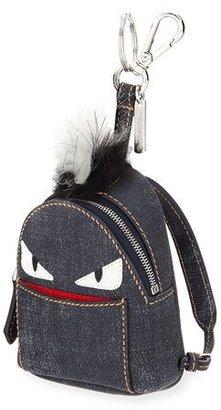 Fendi Monster Denim Backpack Charm W/Fur, Blue $1,000 thestylecure.com