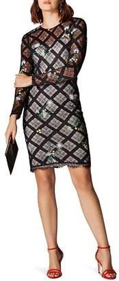 Karen Millen Check Lace Sheath Dress