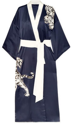 Olivia von Halle - Queenie Embroidered Silk Robe - Navy