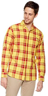 Isle Bay Linens Men's Long Sleeve Cover Placket Woven Shirt Standard Fit XL