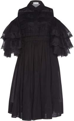 Dice Kayek Ruffle Sleeve Silk Dress