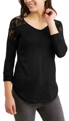 Generic Women's Long Sleeve V-Neck Textured Knit Lace Inset T-Shirt