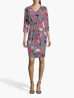 Betty Barclay Floral Stripe V-Neck Dress, Black/Pink