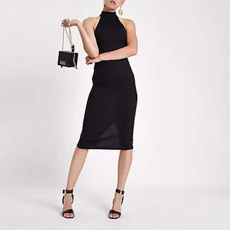River Island Womens Black halter neck cutaway midi bodycon dress