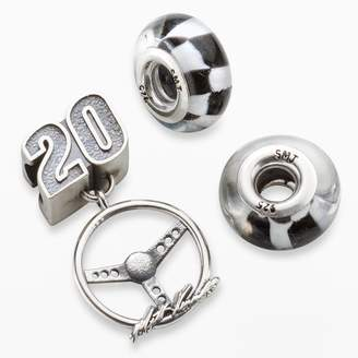 "Insignia Collection NASCAR Matt Kenseth Sterling Silver ""20"" Steering Wheel Charm & Checkered Flag Bead Set"