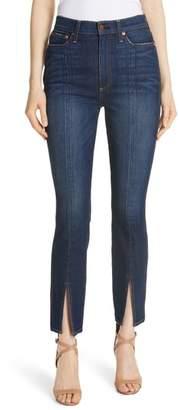 Alice + Olivia Good High Waist Front Slit Skinny Jeans