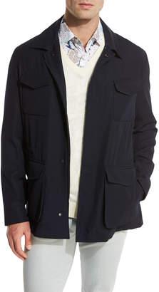 Kiton Classic Safari Jacket, Navy Blue