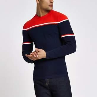 River Island RI Studio navy block print muscle fit sweater