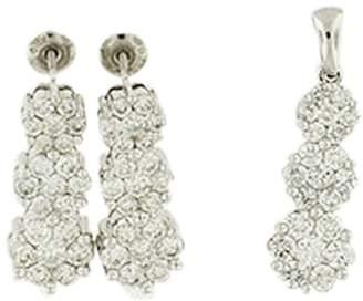18K White Gold Flower Diamond Earring And Pendant Set