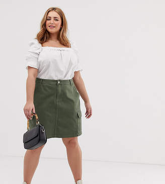New Look Plus Curve cargo skirt in green