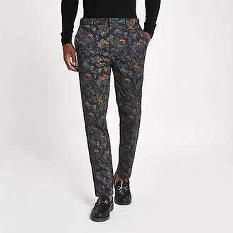 River Island Blue crane print skinny smart pants