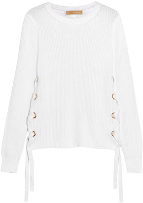 Lace-up Ribbed Cotton Sweater - White