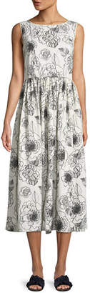 Co Sleeveless Floral-Print A-Line Cotton Dress