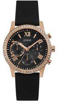 GUESS Rosegold Tone Black Silicone Strap U1135L4 Watch
