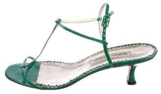 Manolo Blahnik Patent Leather T-Strap Sandals