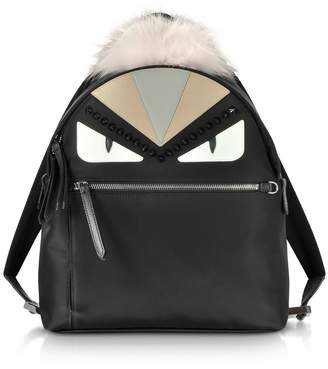 Fendi Black And Peonia Bugs Eyes Nylon And Fur Backpack