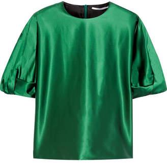 Rosetta Getty Knotted Stretch-satin Blouse - Dark green