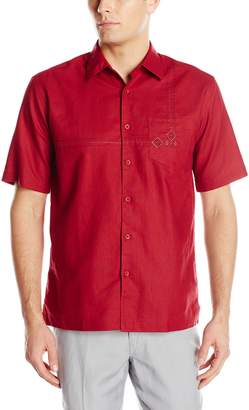 Cubavera Cuba Vera Men's Short Sleeve Geometric Embroidery with Pocket Woven Shirt