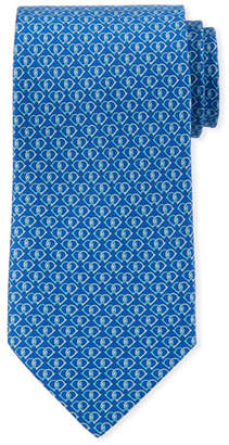 Salvatore Ferragamo Fiocco Gancini Printed Silk Tie, Blue