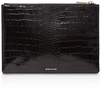 Whistles Shiny Medium Croc-Embossed Leather Clutch
