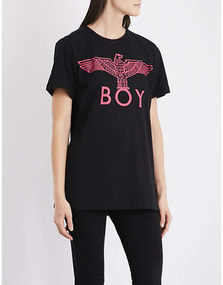 Boy London Ladies Black Pink Ribbed Iconic Eagle Cotton-Jersey T-Shirt