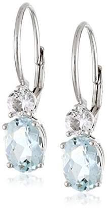 10k White Gold Aquamarine and Created White Sapphire Dangle Earrings