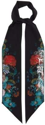 Alexander McQueen Floral Print Skinny Silk Scarf - Womens - Black Multi