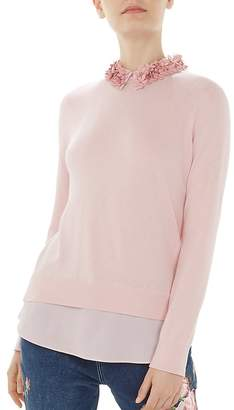 Ted Baker Nansea Floral-Collar Layered-Look Sweater