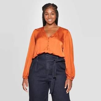 Ava & Viv Women's Plus Size Relaxed Fit Long Sleeve V-Neck Covered Button Blouse - Ava & VivTM