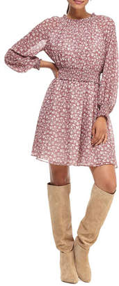 Gal Meets Glam Pressed Floral Long-Sleeve Smocked-Waist Fit-&-Flare Dress